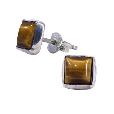 Tiger Eye 6mm Sterling Silver Square Posts - P7-TE