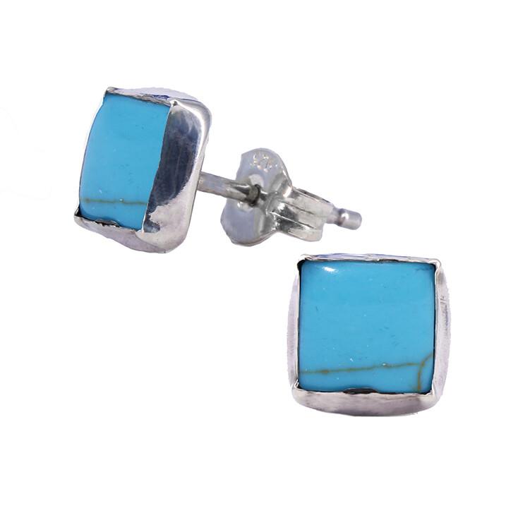 Turquoise Colored 6mm Sterling Silver Square Posts - P7-TQ