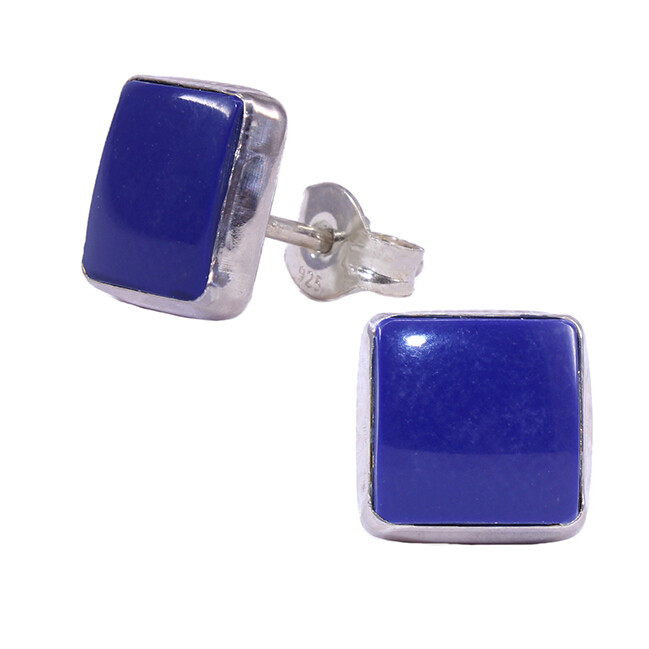 Navy Colored 8mm Sterling Silver Square Posts - P9-LP