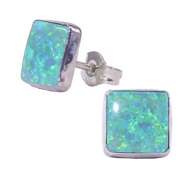 Opalescent 8mm Sterling Silver Square Posts - P9-LGOP