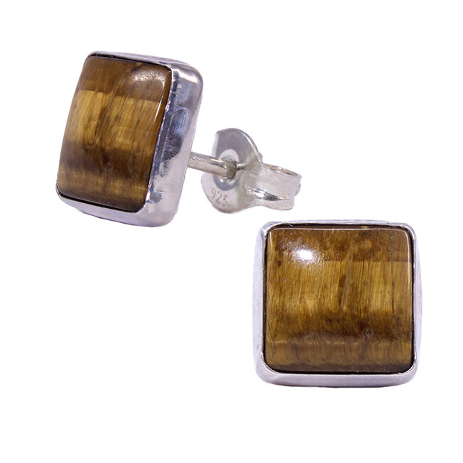 Tiger Eye 8mm Sterling Silver Square Posts - P9-TE