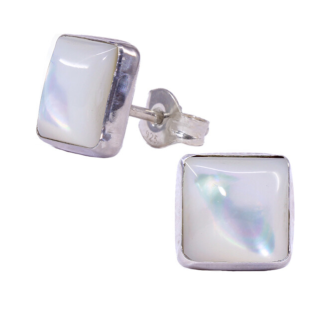 Mother of Pearl 8mm Sterling Silver Square Posts - P9-MOP