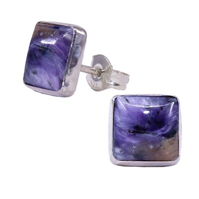 Charoite 8mm Sterling Silver Square Posts - P9-CHR