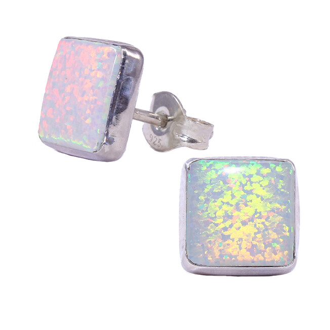 Opalescent 8mm Sterling Silver Square Posts - P9-WOP