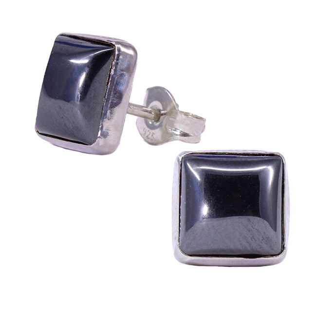 Hematite 8mm Sterling Silver Square Posts - P9-HEM