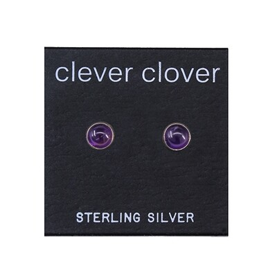 Amethyst 5mm Sterling Silver Circle Posts - P5-AMY
