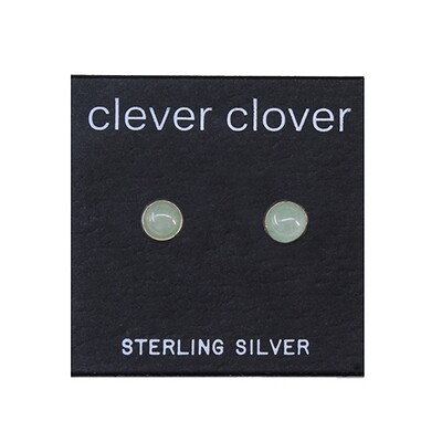 Aventurine 5mm Sterling Silver Circle Posts - P5-AVE