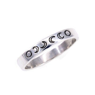 RP3078 Sterling Silver Etched Moon  Phases Ring
