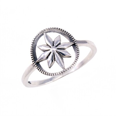 RP3612 Sterling Silver Open Compass Ring