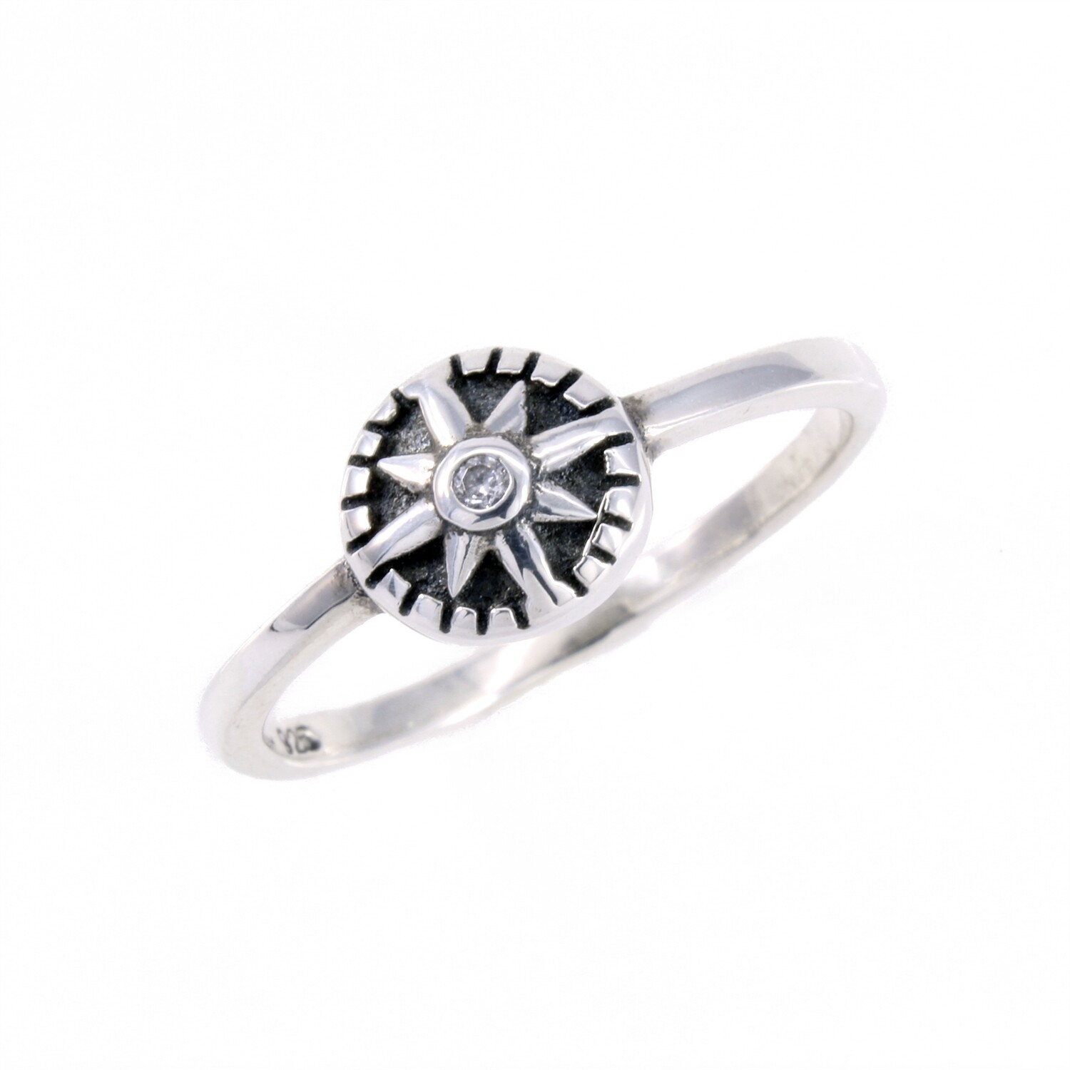RP3137 Sterling Silver Compass Rose Star CZ Ring