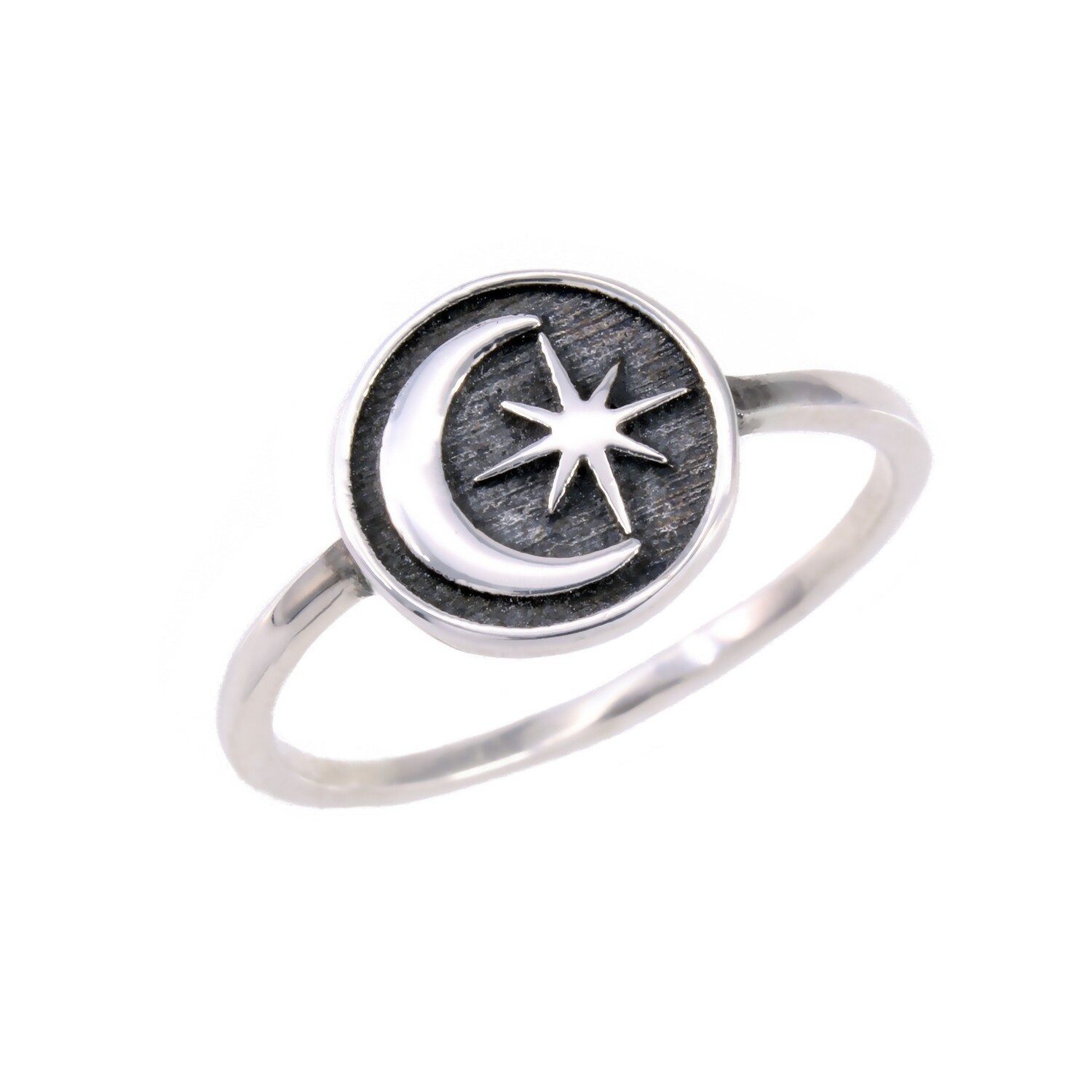 RP3349 Sterling Silver Moon/Star Disk Ring