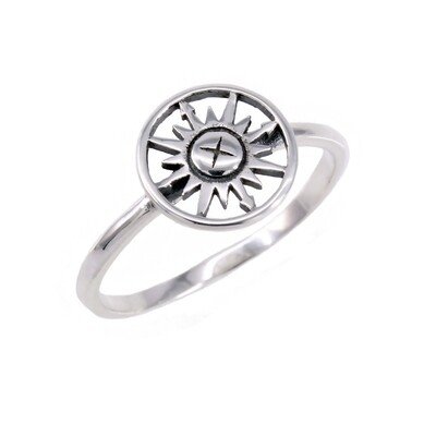RP3496 Sterling Silver Small Open Compass Ring