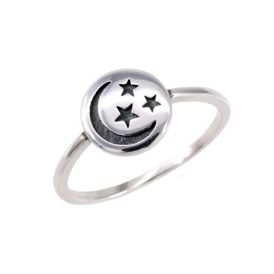 RP3595 Sterling Silver Moon + Stars Disk Ring