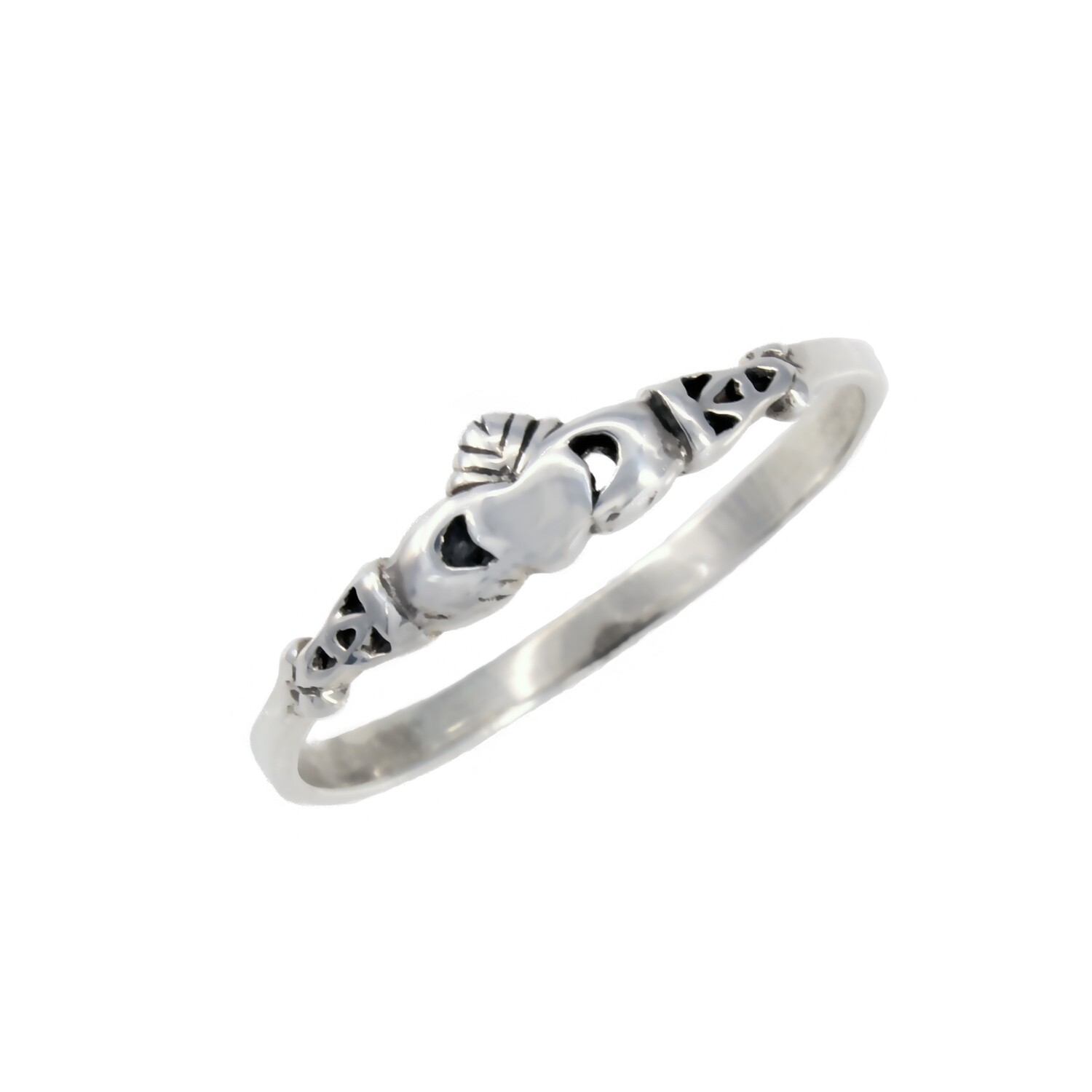 RP2231 Sterling Silver Tiny Claddaugh Ring