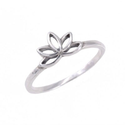 RP3334 Sterling Silver Tiny Open Lotus Ring