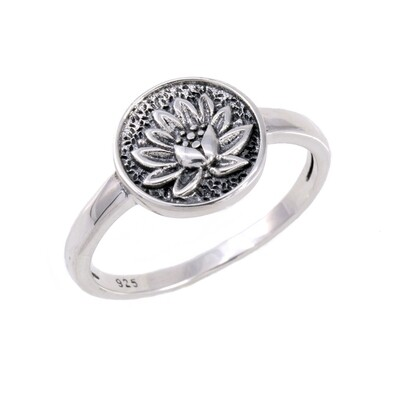 RP3795 Sterling Silver Lotus Disk Ring