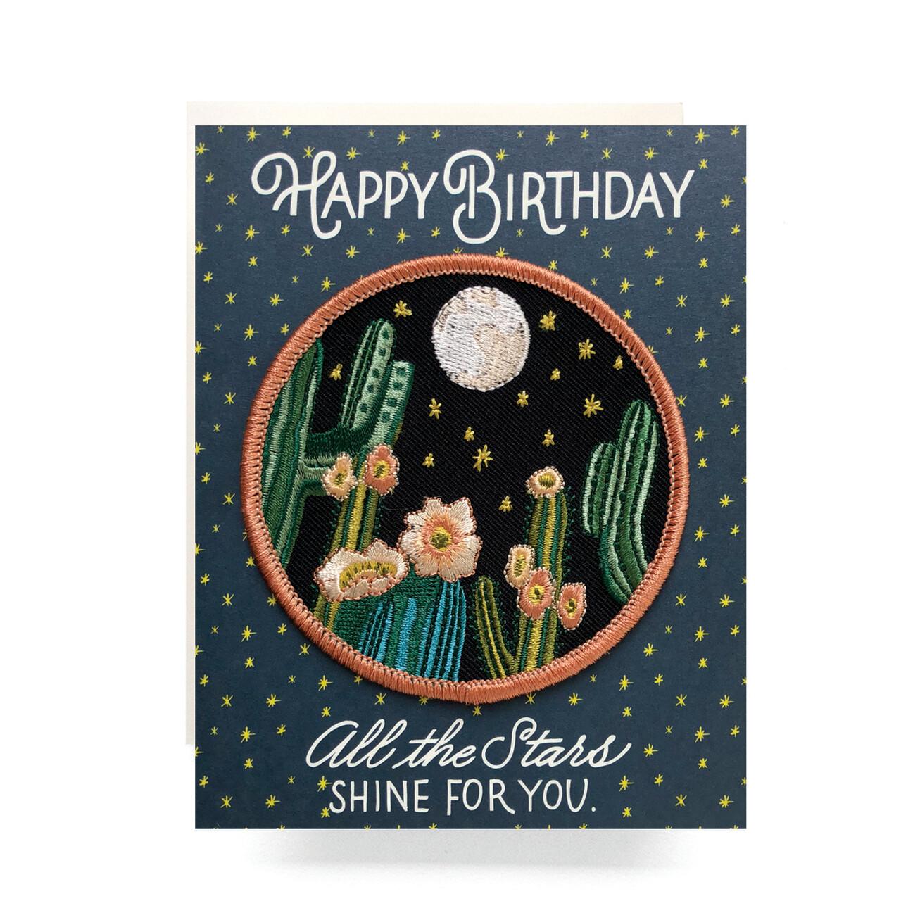 Desert Night Patch Happy Birthday Card - AQ4