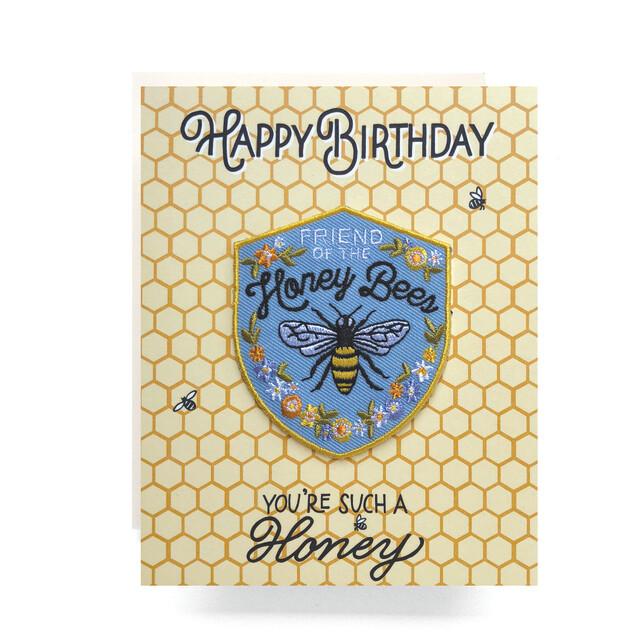 Honeybee Patch Card Happy Birthday - AQ3