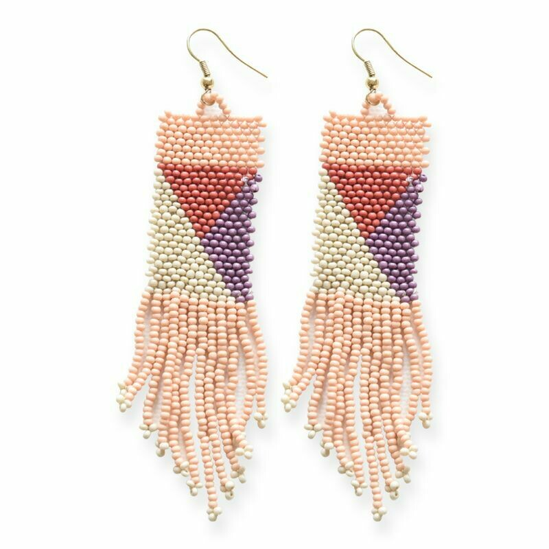Pink Geometric Patterned Earrings -IAE3
