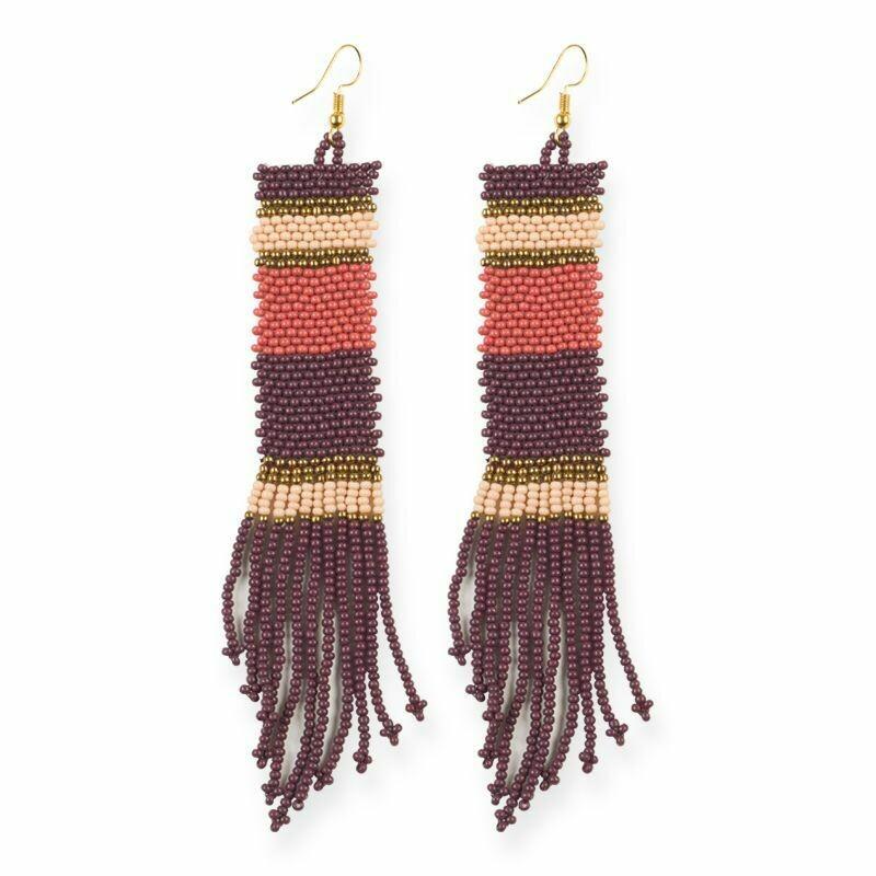 Port + Pink Striped Long Seed Bead Earrings - IAE2