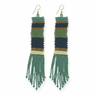 Teal Striped Long Seed Bead Earrings - IAE2