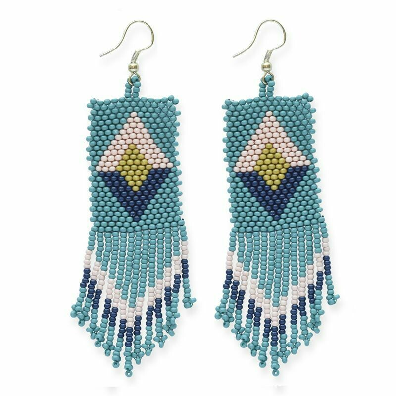 Teal Diamond Patterned Earrings -IAE4