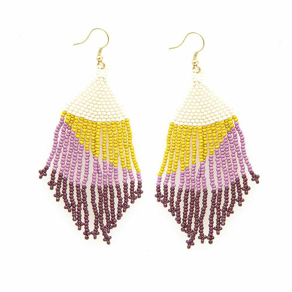 Lilac + Citron Ombre Fringe Earrings -IAE6
