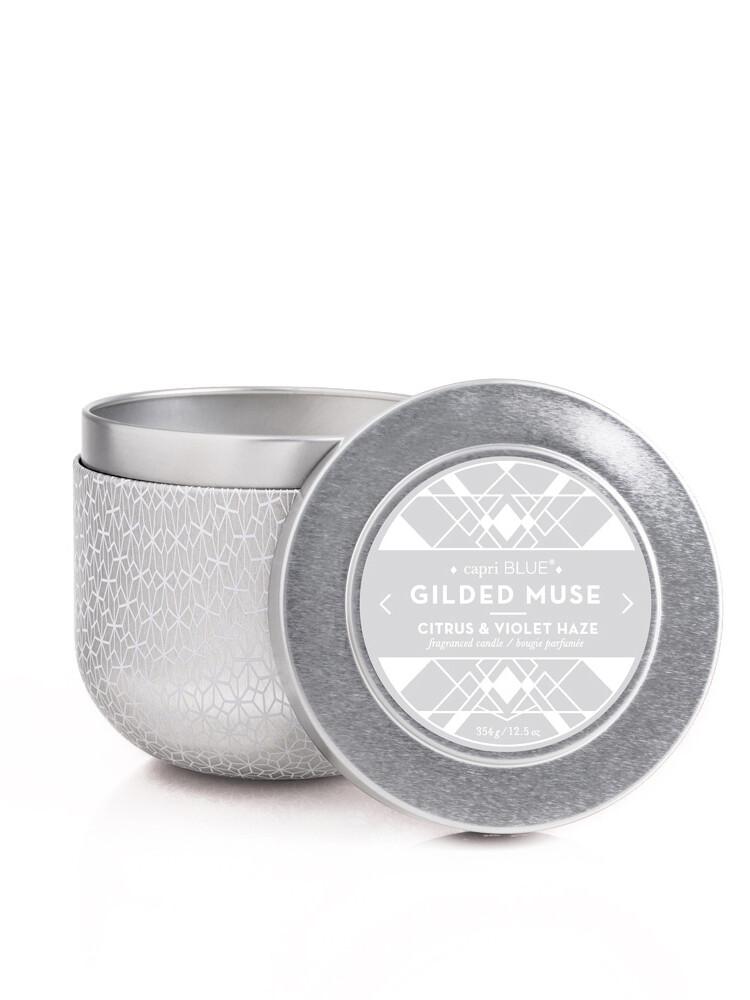 Citrus + Violet Haze Candle - Capri Blue Gilded Oversized Tin