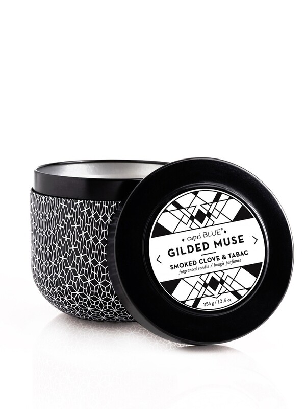 Smoked Clove + Tabac Candle - Capri Blue Gilded Oversized Tin