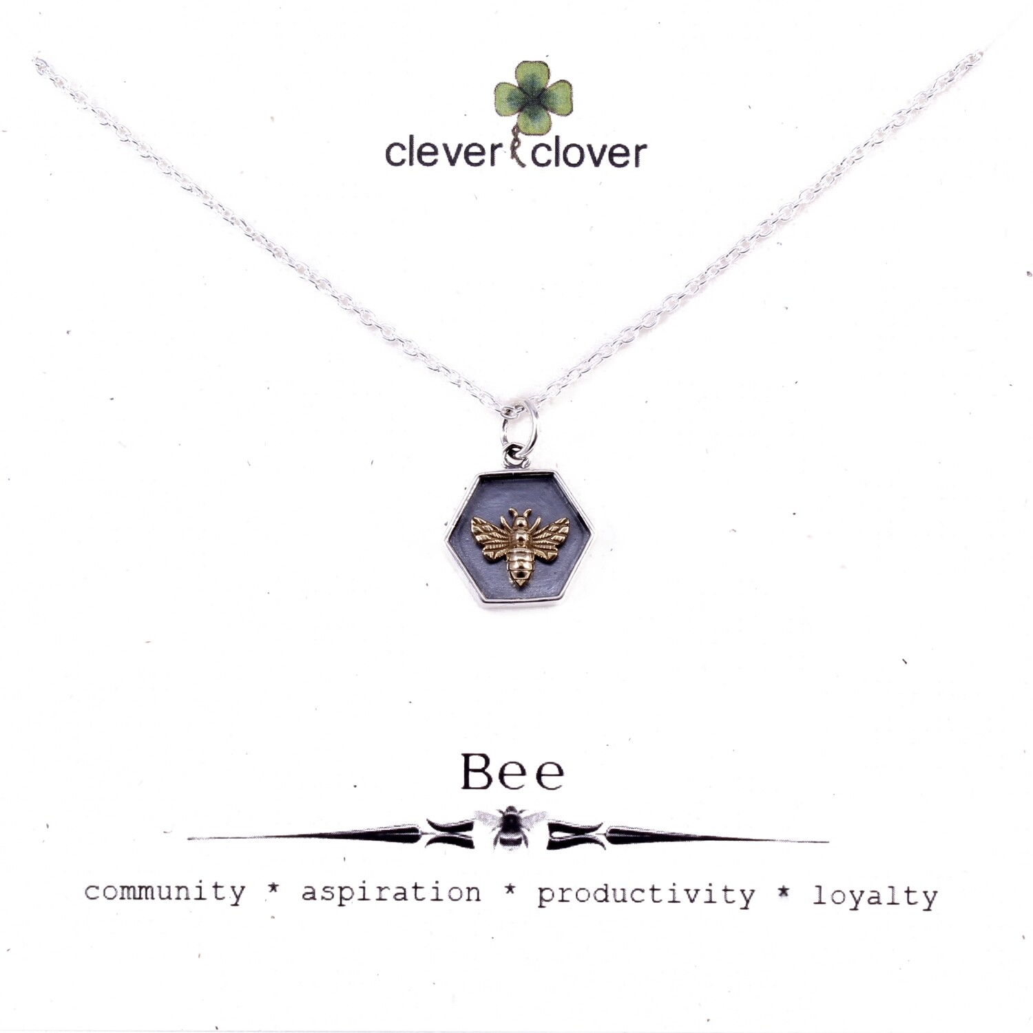 SSN6187 Sterling Silver Hexagon + Bronze Bee Necklace