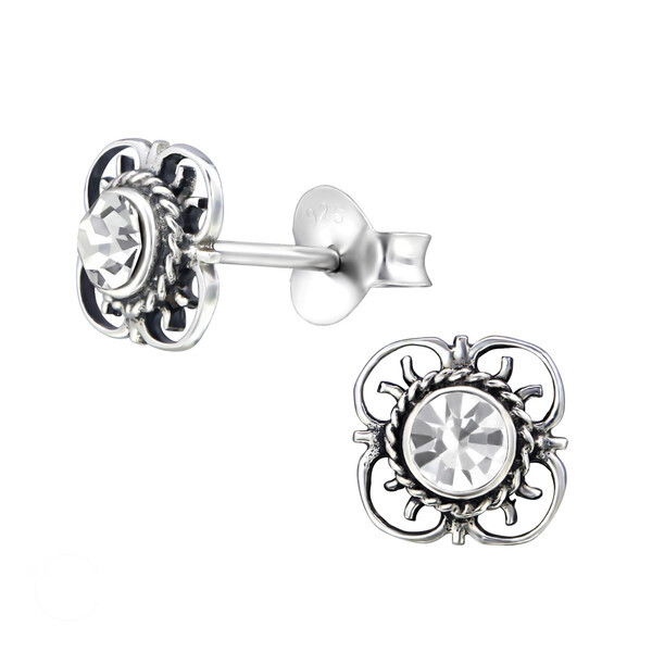 P35-38 Sterling Silver Filigree Floral CZ Posts