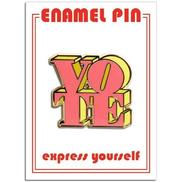 Vote Pink/Yellow Enamel Pin - FFP-183