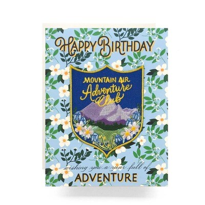 Mountains Patch Card Happy Birthday - AQ6