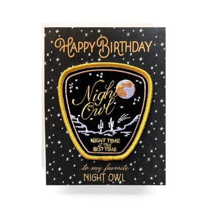 Night Owl Patch Card Happy Birthday - AQ9