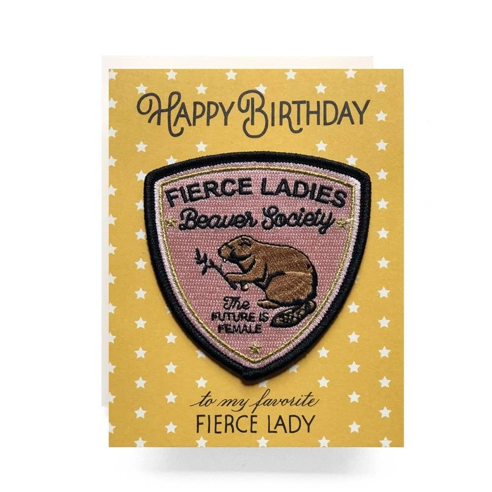 Fierce Lady Patch Card Happy Birthday - AQ10
