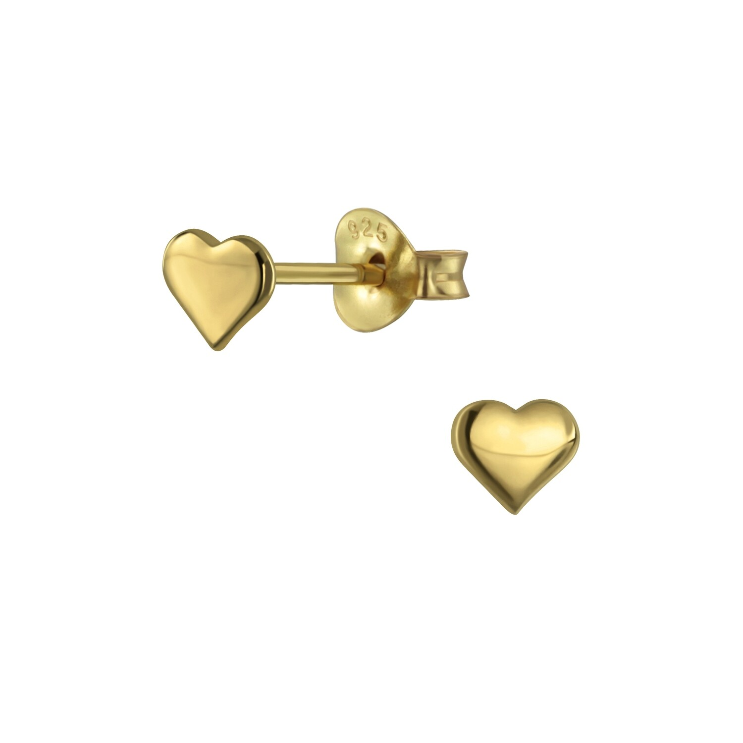 4mm Heart Posts - Gold Plated Sterling Silver - P60-2