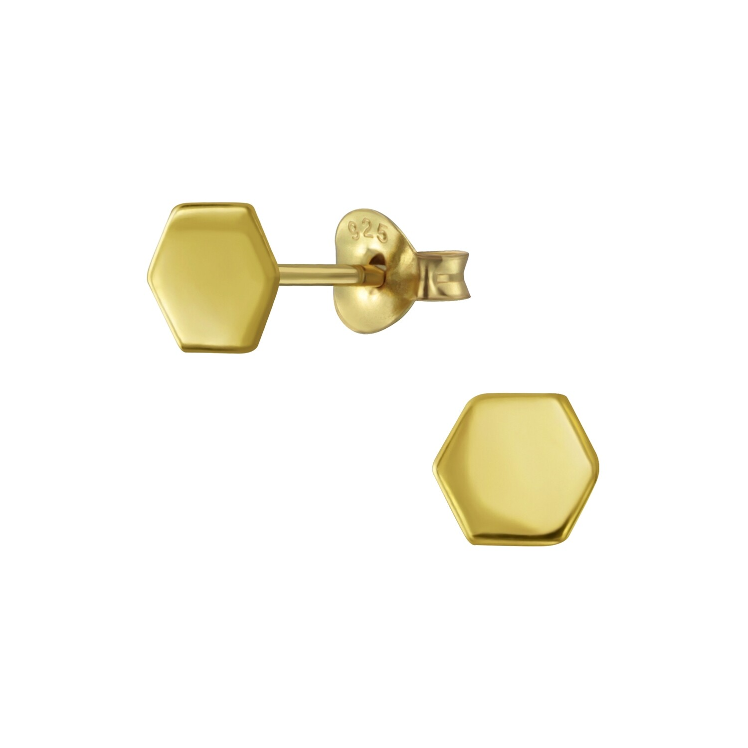Solid Hexagon Posts - Gold Plated Sterling Silver - P60-5