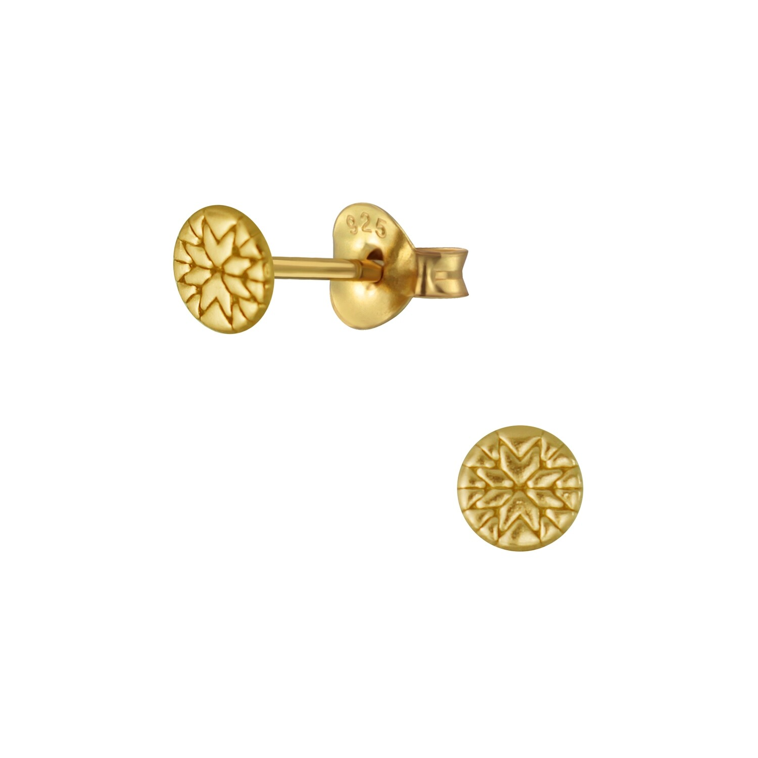 Tiny Floral Stamped Circle Posts - Gold Plated Sterling Silver - P60-6