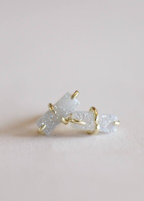 White Drusy Bar Prong Set Post - 18k Gold Over Sterling Silver