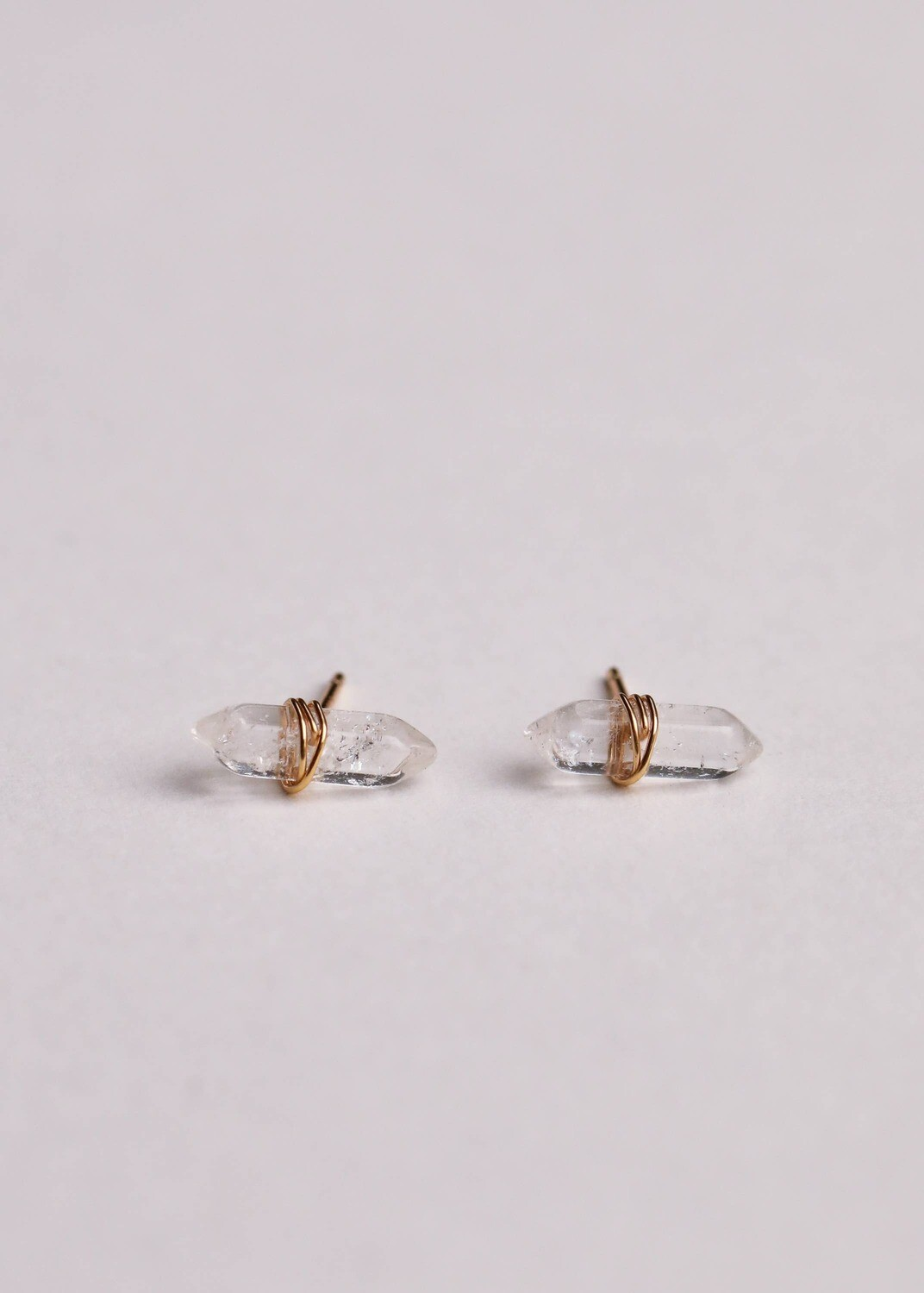 Quartz Mineral Point Posts - 18k Gold Over Silver - JK22