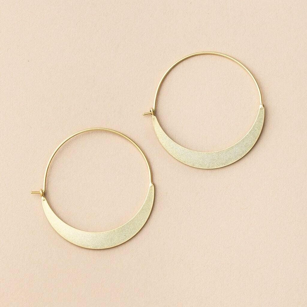 Gold Vermeil Crescent Hoop Earrings - ER002