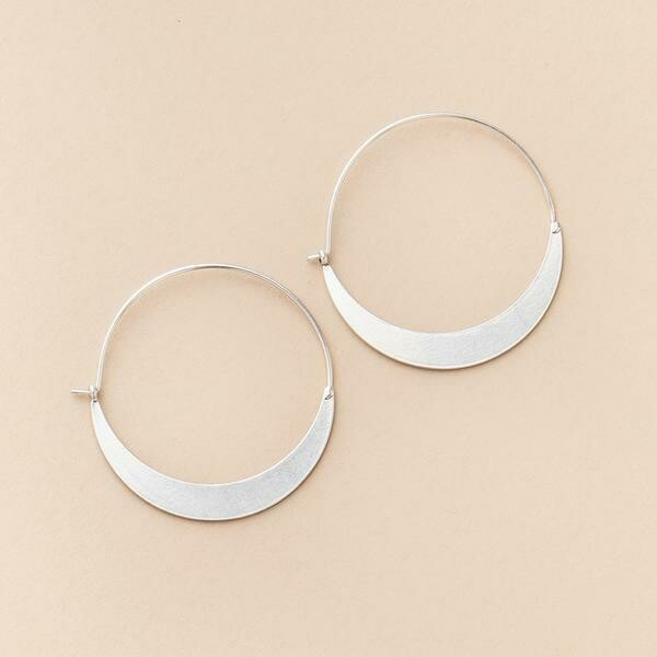 Sterling Silver Crescent Hoop Earrings - ER001
