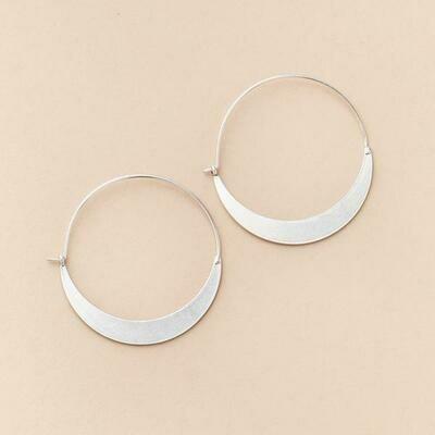 Sterling Silver Crescent Hoop Earrings - ER001