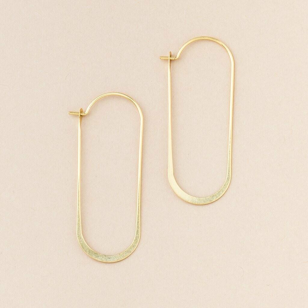 Gold Vermeil Cosmic Oval Hoop Earrings - ER008