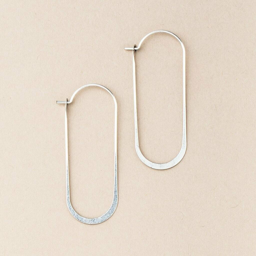 Sterling SIlver Cosmic Oval Hoop Earrings - ER007
