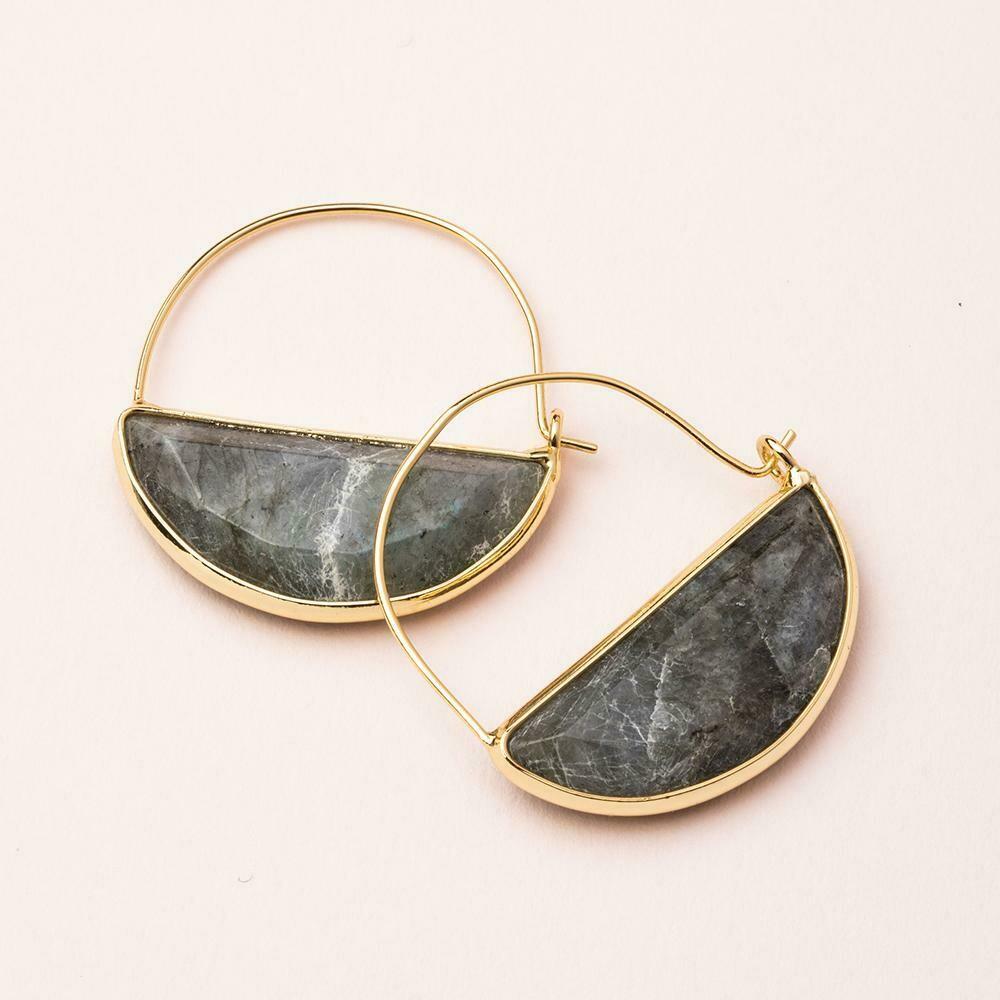 Labradorite Prism Hoop - 14k Gold Dipped Wire - EP001