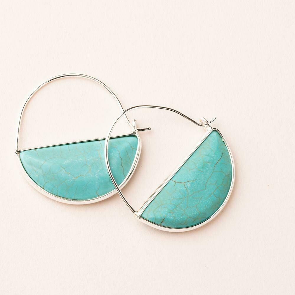 Turquoise Prism Hoop - Sterling Silver Dipped Wire - EP005