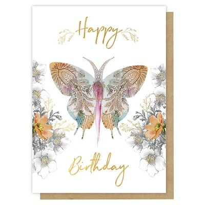 Paisley Butterfly Birthday Greeting Card