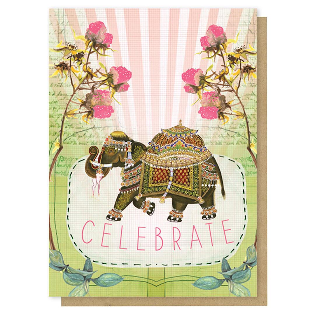 Fancy Elephant Celebrate Greeting Card - PAC208