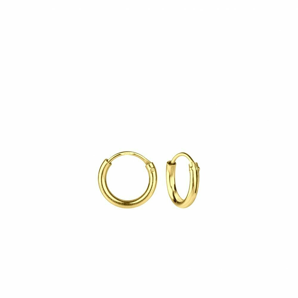 14k Gold Dipped Sterling Silver 8mm Thin Endless Hoops